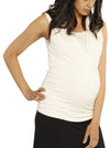 Maternity V-Neck Crossover Bamboo Sleeveless Top - White comfortable pregnancy top