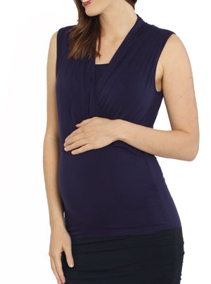 Feeding V-Neck Crossover Bamboo Sleeveless Top - Purple