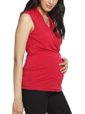 Maternity V-Neck Crossover Bamboo Sleeveless Top - Red