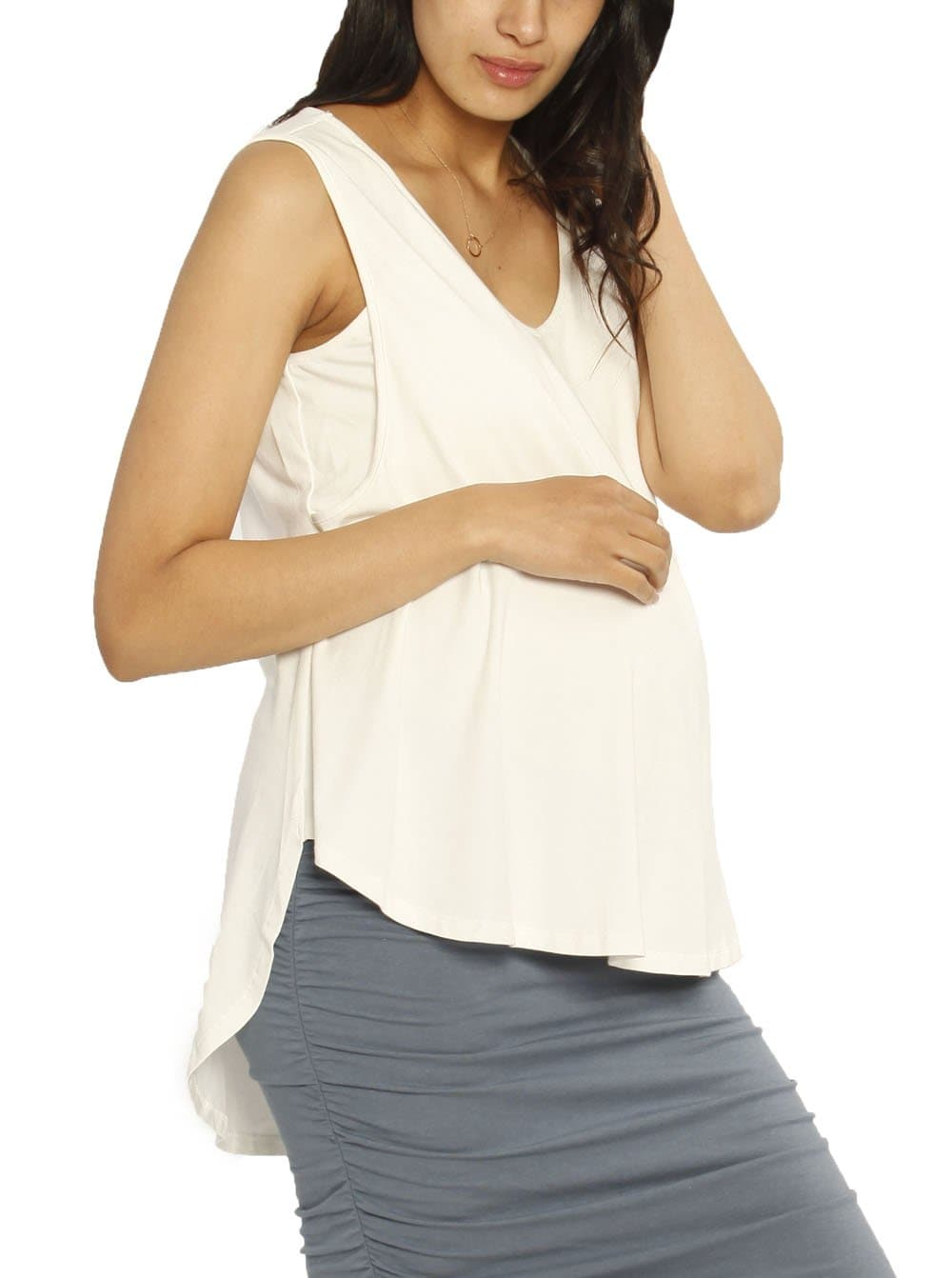 Ruby Joy - The Swing Tank with Nursing Opening - White - maternity fashion top