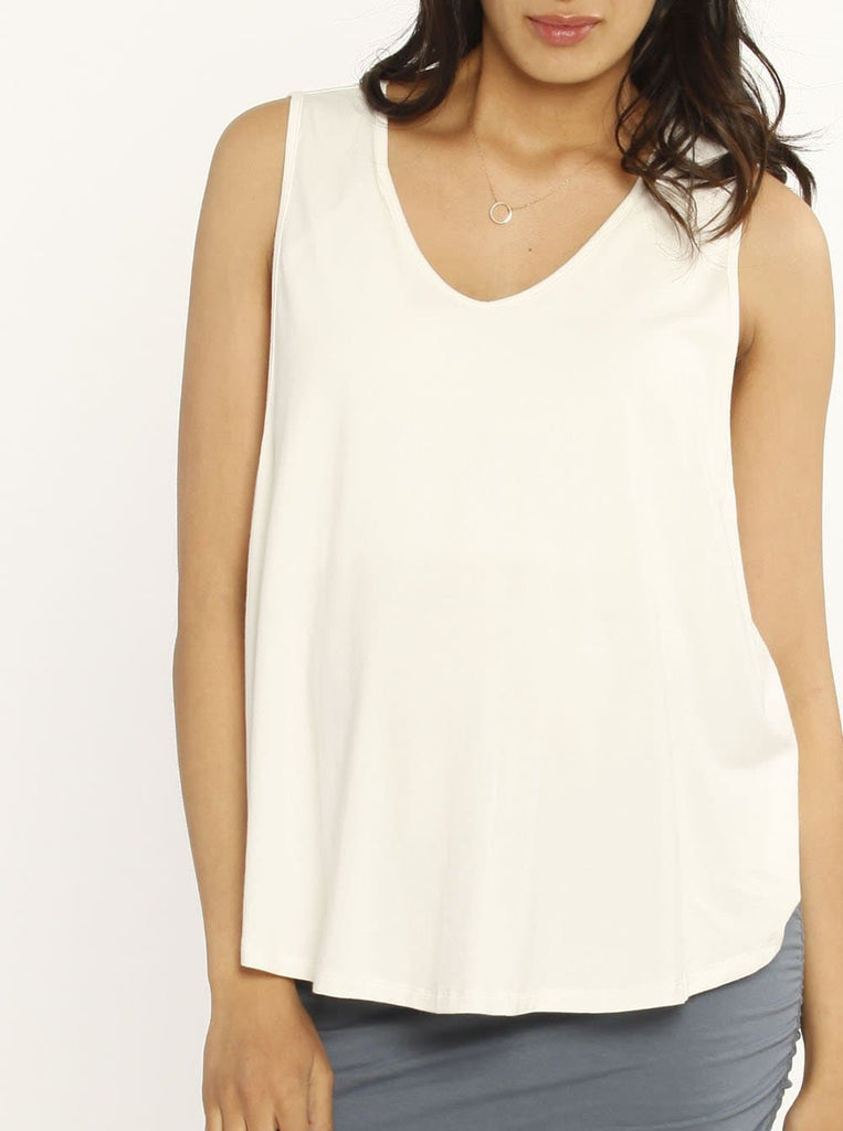 Ruby Joy - The Swing Tank with Nursing Opening - White summer maternity top