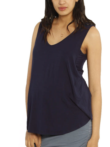 Maternity Button Front Smart Nursing Top in Navy Print