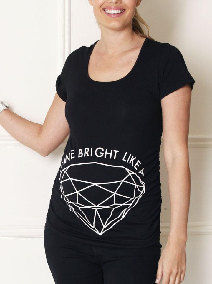 Basic Maternity Slogan Top: Shine Bright like a Diamond Tee