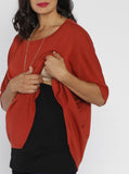 Maternity Loose Fit Double Layer Nursing Top - Red & Black Nursing Singlet - Angel Maternity - Maternity clothes - shop online