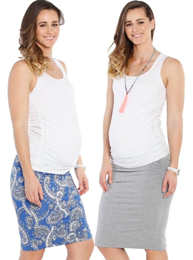 Reversible Maternity Skirt in Grey & Blue Paisley Print - Angel Maternity - Maternity clothes - shop online