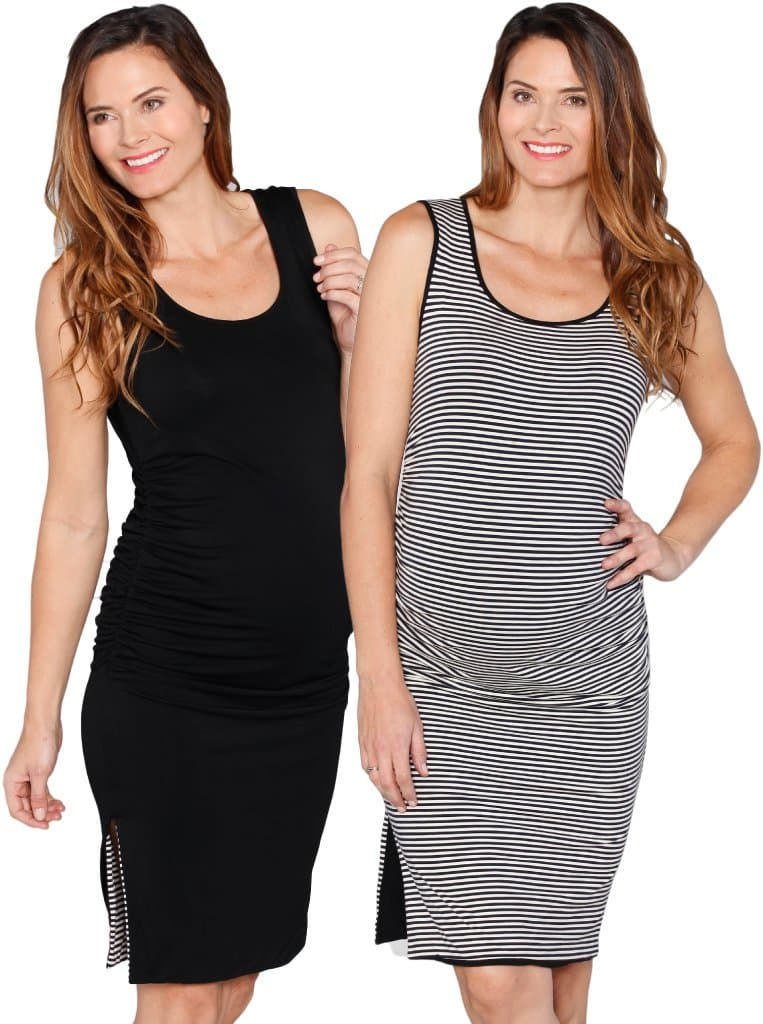 Reversible Maternity Dress in Black/ Stripes - Angel Maternity - Maternity clothes - shop online