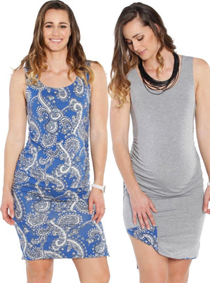 Maternity Reversible Dress in Grey & Blue Paisley Print - Angel Maternity - Maternity clothes - shop online