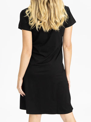 Maternity Cotton T-Shirt Dress in Black Back