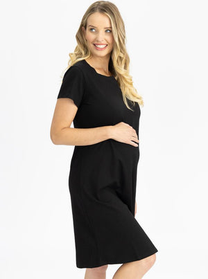 Maternity Cotton T-Shirt Dress in Black Side