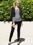 Maternity Trendy Cape Blazer in Solid Black