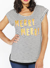 Merry Merry Chrismas Slogan Top - Black & White Stripes - Angel Maternity - Maternity clothes - shop online