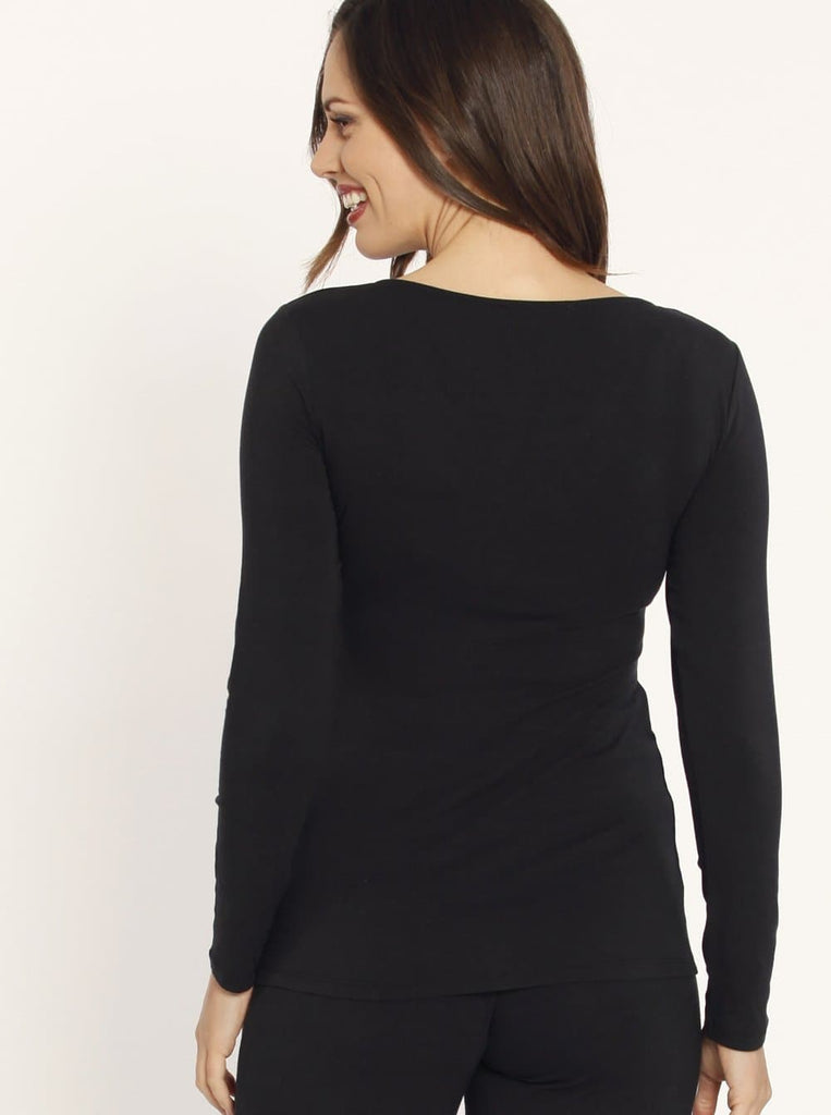 Busy Mummy Long Sleeve Bamboo Nursing Top in Black