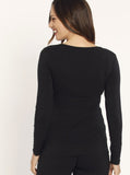 Busy Mummy Long Sleeve Bamboo Nursing Top in Black back
