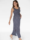 Maternity and Nursing Button up front Maxi Dress in Navy