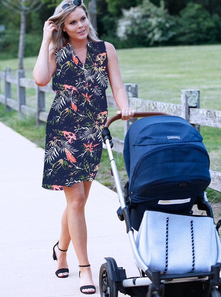 Maternity Drawstring Nursing Dress - Blue Floral Print