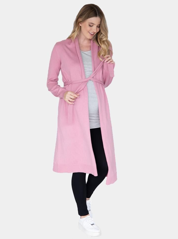 Maternity Long Knit Wool Blend Cardigan - Pink