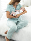 Maternity and Nursing Pyjama Long Pant Set in Sage