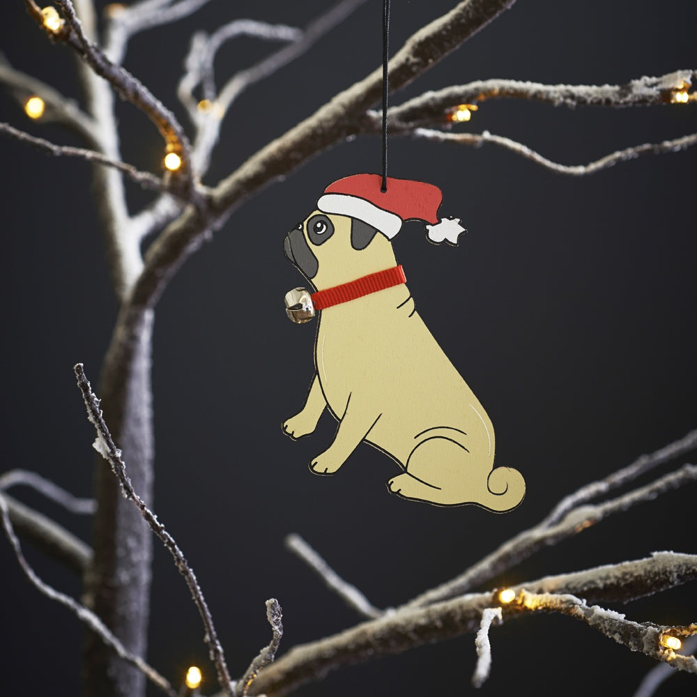 Pug Christmas Tree Decoration