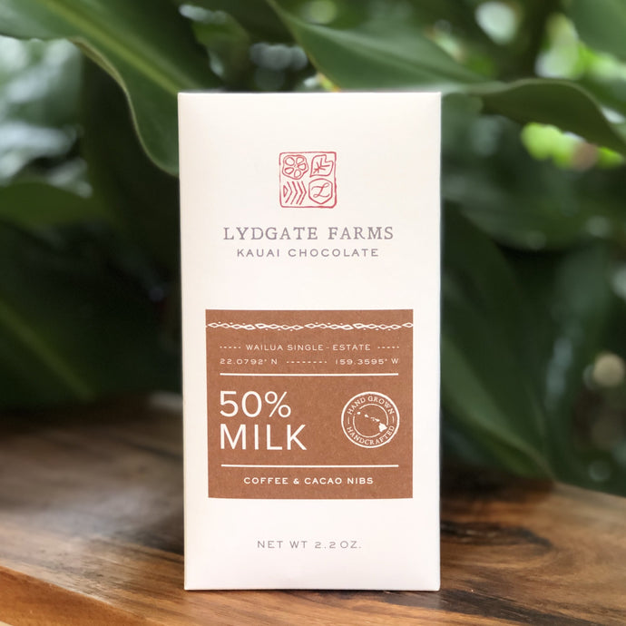 WHOLESALE 50% Milk Chocolate with Coffee & Cacao Nibs