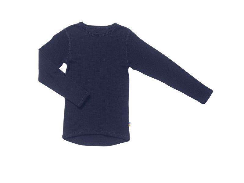 Organic Merino Wool Long Sleeve Top Navy