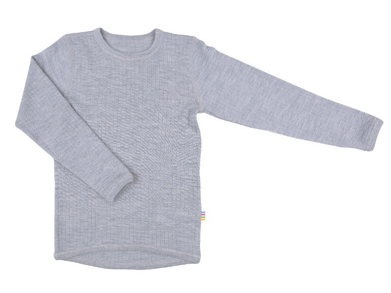 Organic Merino Wool Long Sleeve Top Grey