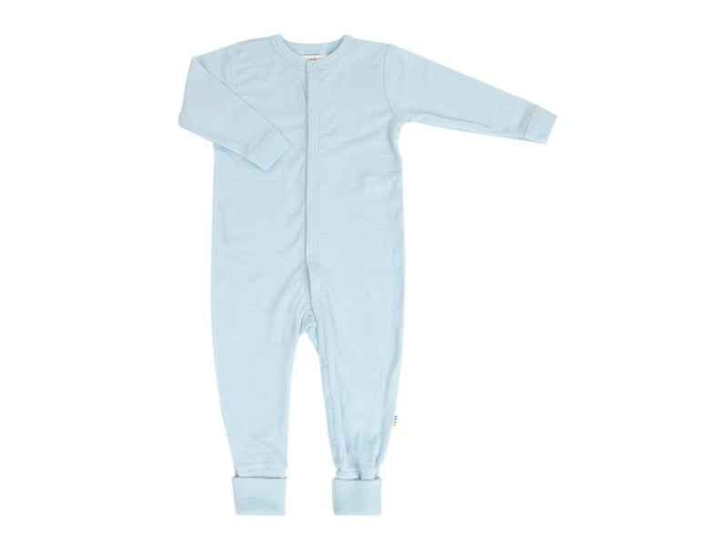 Organic Merino Wool Preemie Babysuit Light Blue