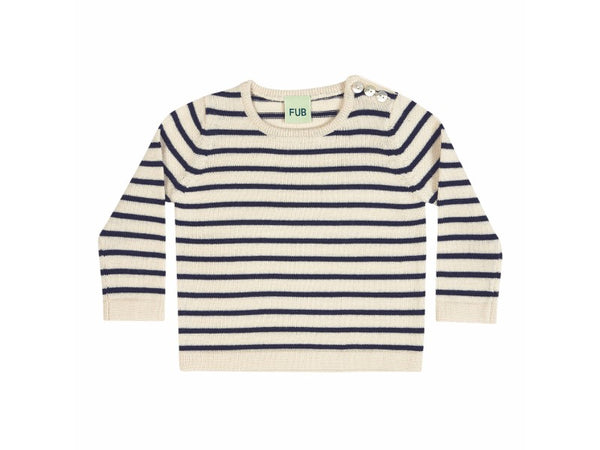 Fine Knit Jumper Ecru/Navy