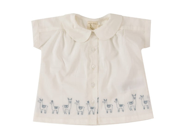 Blouse w. Peter Pan collar (embroidered), llamas