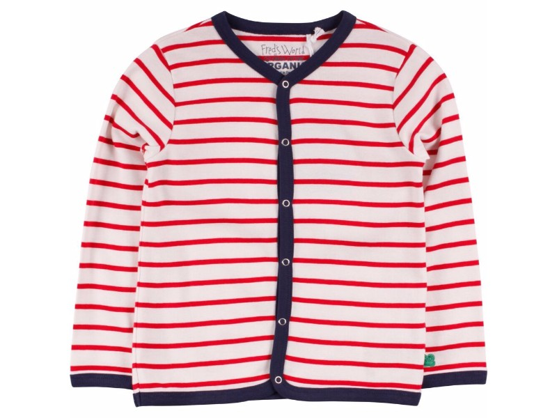 Cream/Red Striped Cardigan