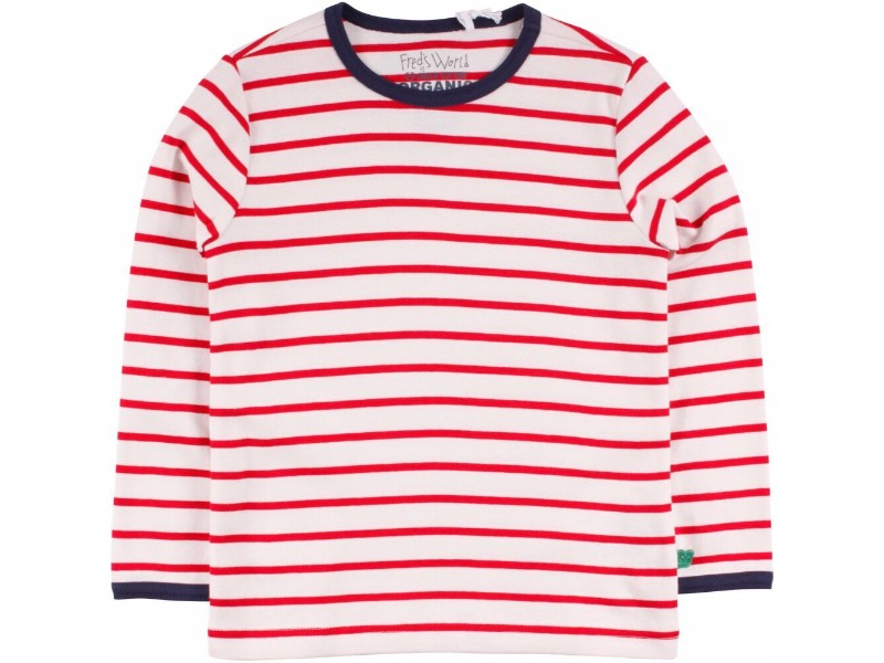 Cream/Red Striped Long Sleeve Shirt