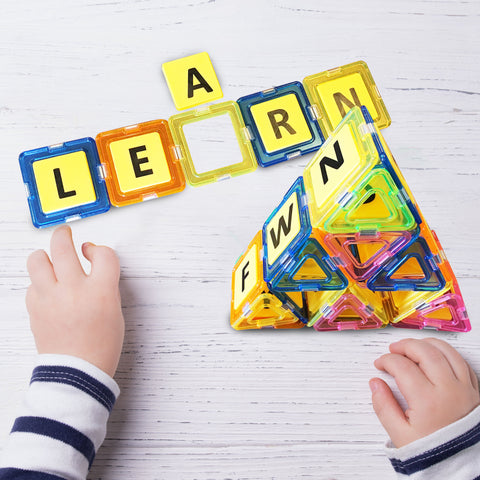 Crystal Magnetic Building Tiles with Alphabet Letters