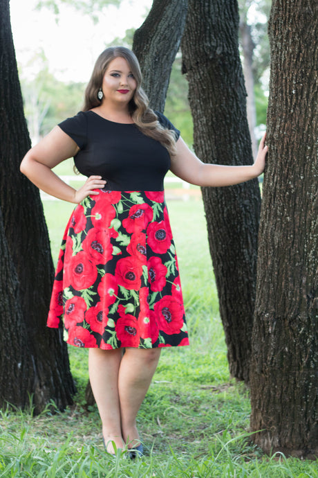 Sophie Dress in Red Poppies  - Size 12, 14-16, 18-20