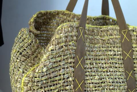 Natural Jute Basket Bag - Yellow Trim