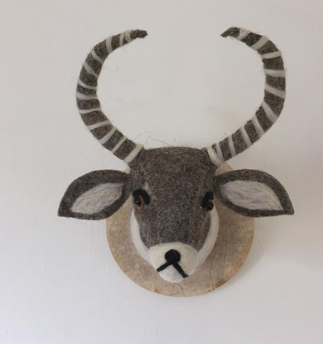 Faux Taxidermy Antelope - 100% Wool Felt Wall Mounted Animal Head Décor.