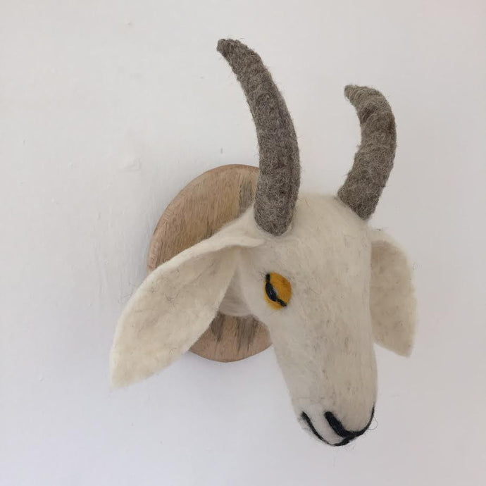 Faux Taxidermy White Goat - 100% Wool Felt Wall Mounted Animal Head Décor.