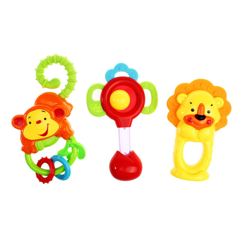 1 Set Animal Handbells Developmental Toy Bells Kids Baby Rattle Lovely