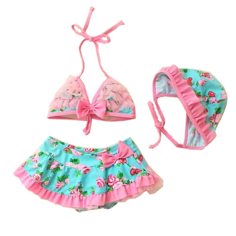3 Piece Baby Girl's Floral Print Lace Halter Neck Bikini swimwear With Hat,Blue