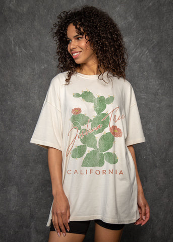 Joshua Tree Cactus Antique White T-Shirt Dress