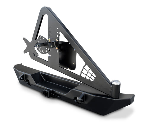 JK Rockbrawler II Rear Bumper With Integrated Single-Action Tire Carrier Black Steel 17-62-020P1 Poison Spyder