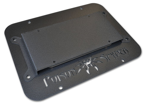 JK Tire Carrier Delete Plate II With License Plate Mount Wide Vent Black Aluminum 18-04-012 Poison Spyder