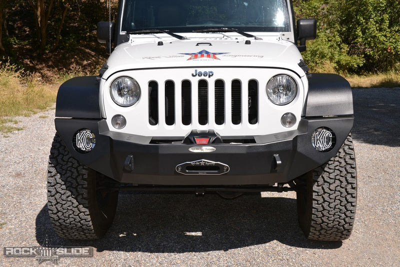 Full Front Bumper For 07-18 Wrangler JK With Winch Plate No Bull Bar Black Powdercoated Rigid Series