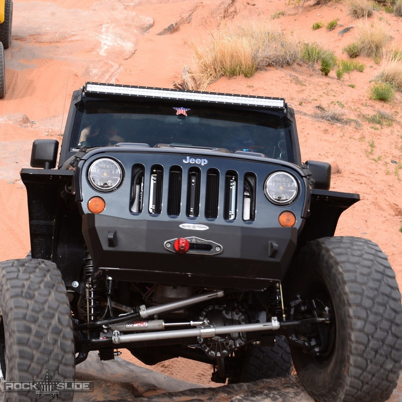 Jeep JK Shorty Front Bumper For 07-18 Wrangler JK With Winch Plate No Bull Bar Rigid Series Rock Slide Engineering