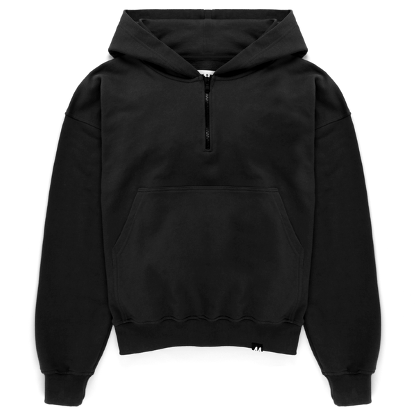Oversized Half Zip Hooded Sweat <br> Pirate Black
