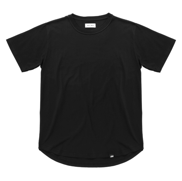Curved Hem T-Shirt <br> Pirate Black