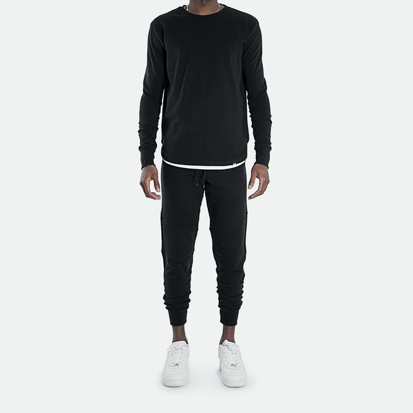 Curved Hem Rib Sweatshirt<br> Pirate Black