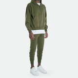 Oversized Half Zip Hooded Sweat <br> Olive Green