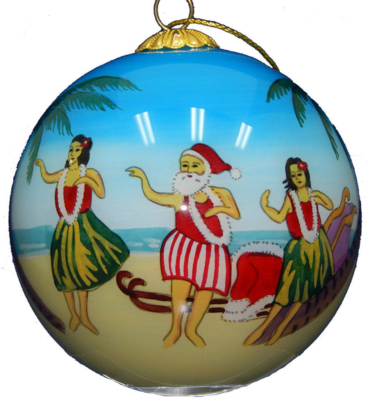 Hula Santa Christmas Ornament