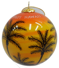 Hawaiian Sunset Palm Tree Christmas Ornament