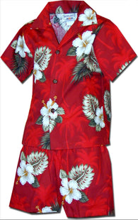 Pacific Legend Boys Brilliant Hawaiian Island flower 2pc Set