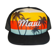 SUNSET PALM TREE MESH CAP
